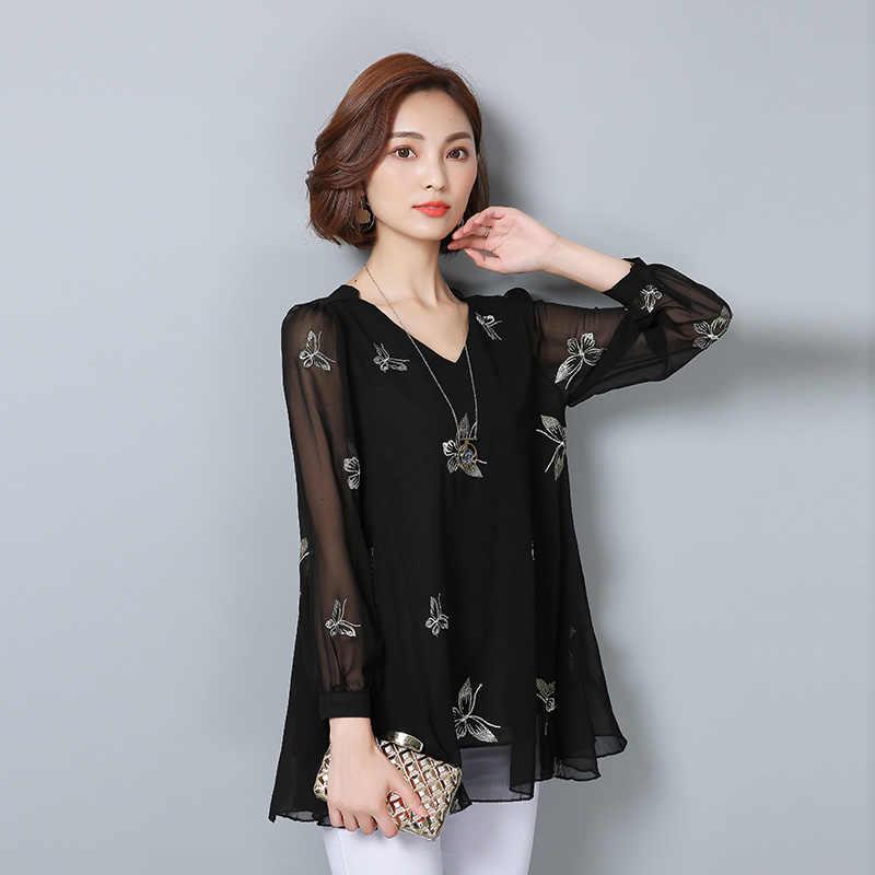 2018夏女性シフォンブラウス緩いプラスサイズ5xl 6xl弓刺繍ファッション黒シャツオフィスレディワークシャツ