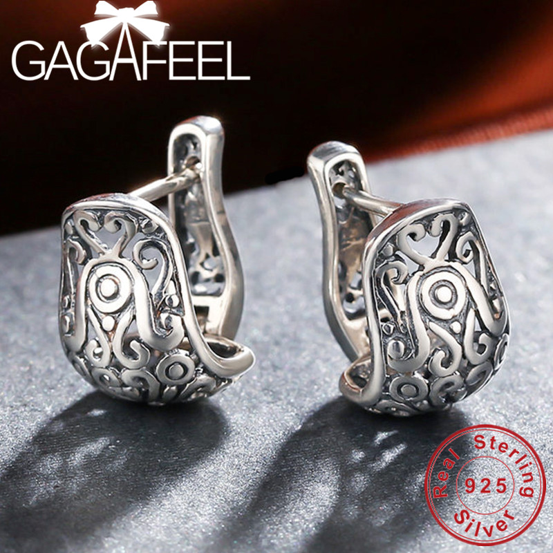 GAGAFEEL New Arrival Vintage Jewelry Earring National Element Tibetan Carving Hollow Retro 925 Sterling Silver Earrings For Girl