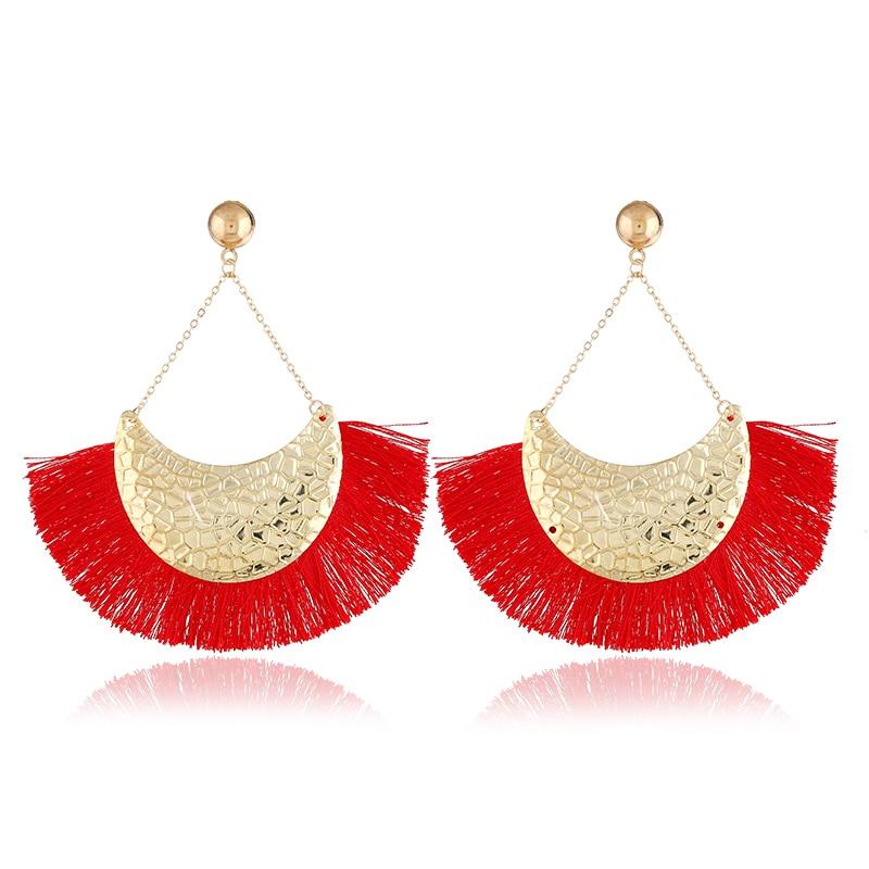 HOCOLE 2018 Brincos Women Brand Boho Drop Dangle Fringe Earring Charms Vintage ethnic Statement Tassel earrings fashion jewelry in Drop Earrings from Jewelry Accessories