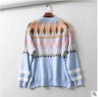 2018 Winter Women New Vintage Baggy Flocking Jacquard Sleeve Geometric Picture Text Sweaters Cute Fashion Pullovers Clothes