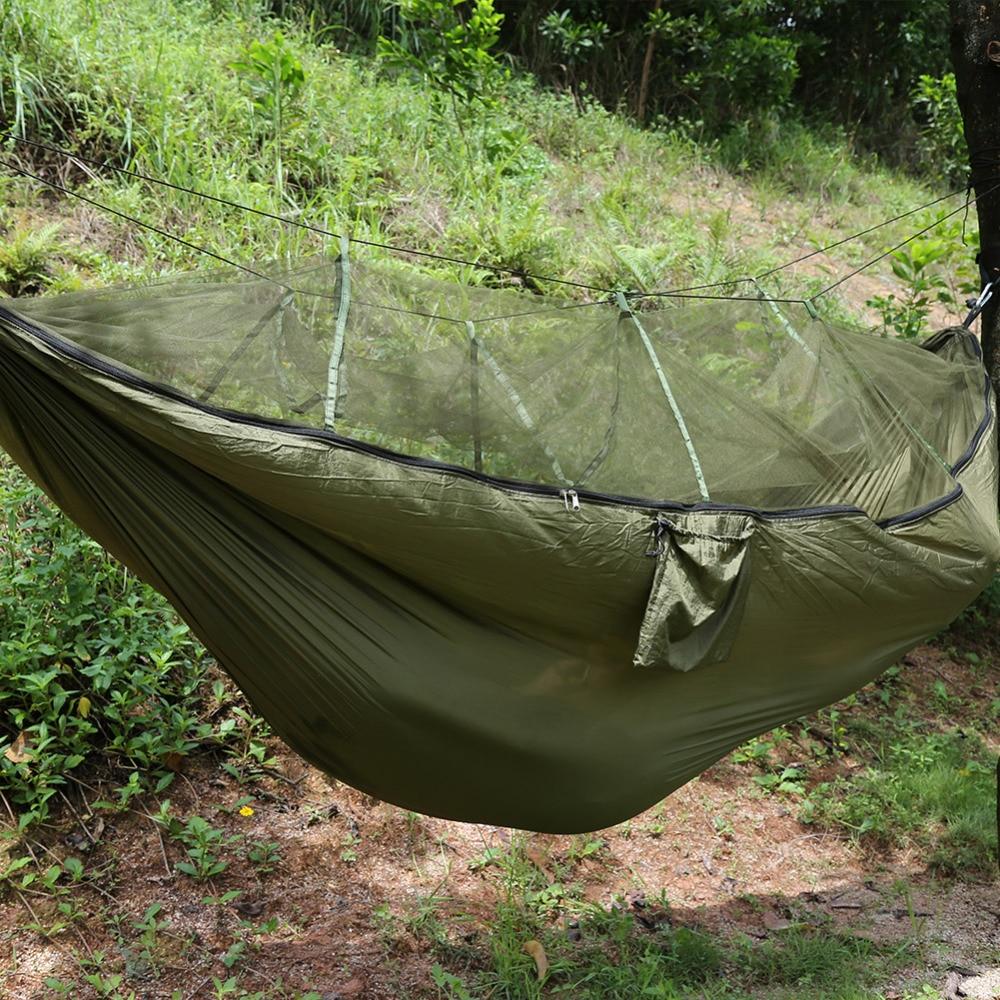 Portable Hammock Folded Into Pouch Mosquito Net Hammock