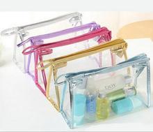PVC Impermeável transparente Saco Envelope Saco de Cosmética Receber Saco Sacos de Maquiagem de Higiene Pessoal Organizador 5 Cores