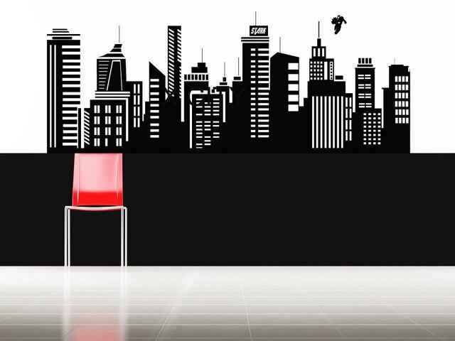 Superhero iron man movie gotham skyline pop city wall art sticker vinyl decal die cut for