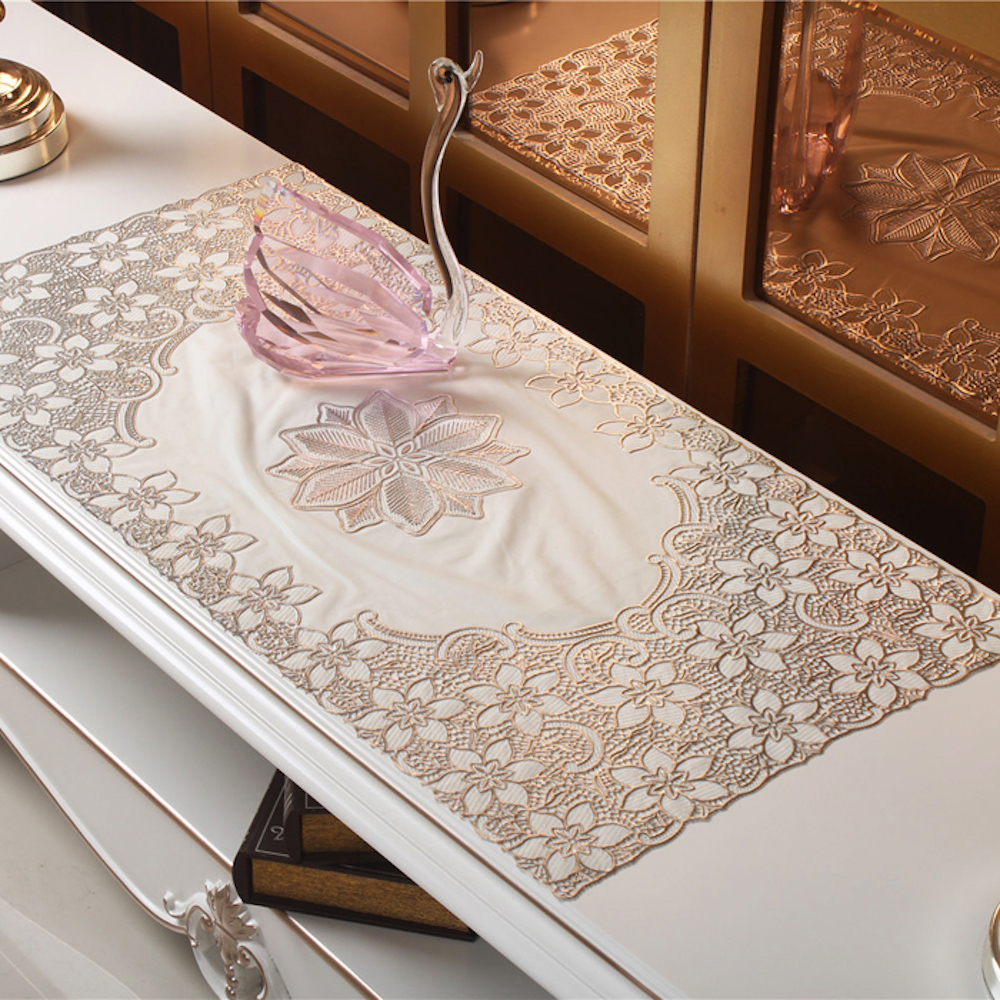 PVC Tablecloth TV Bench Coffee Dining Tea Table Decorative Cover Mat Pad Floral Table Cloth 40 x 84cm Silver Gold