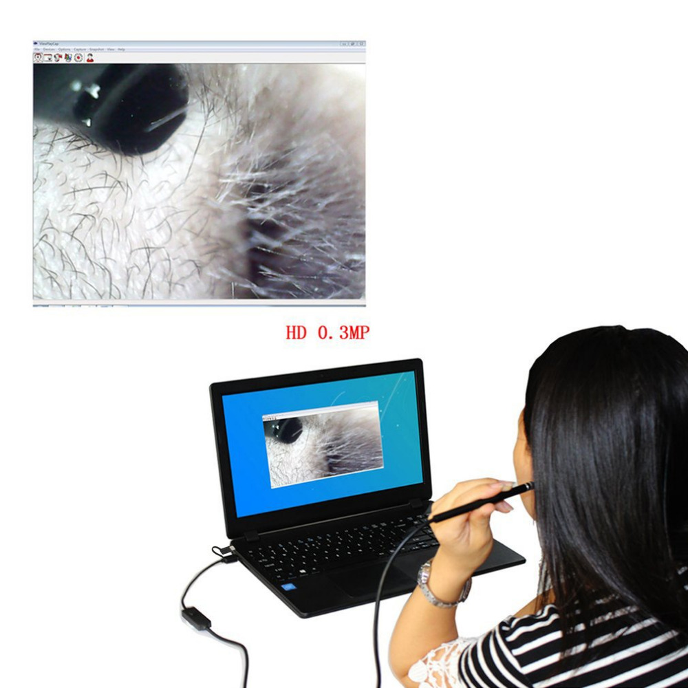 3 in 1 USB Ear Cleaning Endoscope Camera 1.0 Mega Pixel Borescope Inspection Camera Earpick Tool for Android Phones and PC