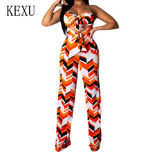 KEXU Summer Sexy Off Shoulder Sleeveless Bow Tie Up Jumpsuits Elegant Hollow Out Vintage Print Playsuits Kombinezony for Women
