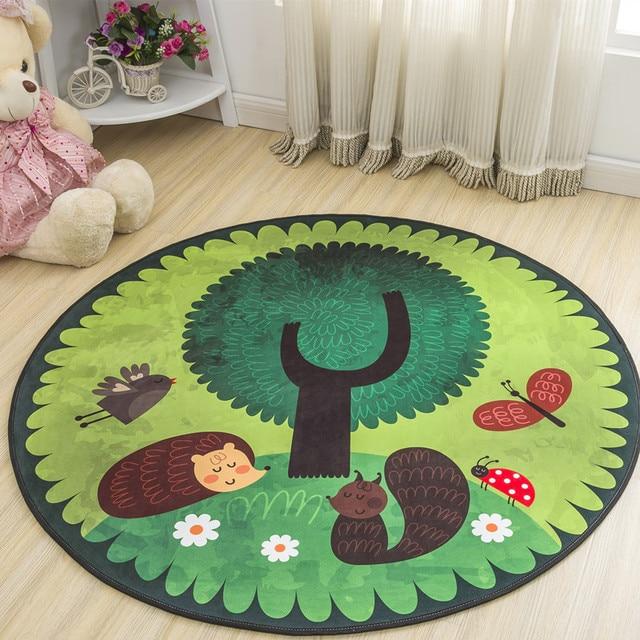 Floor Mat Animal Cartoon Round Carpet Bedroom Decor Anti-slip Round Rugs for Children Home Decoration Diameter 60cm 80cm 100cm
