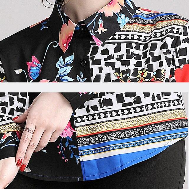 Blusas camisa primavera estampado multicolor manga larga 4