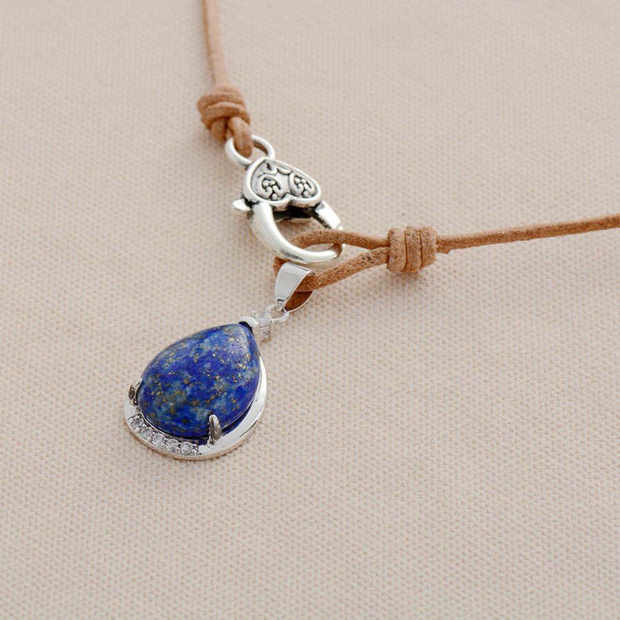 Người phụ nữ Chokers Dây Chuyền Đá Lapis Lazuli Da Thật Chính Hãng Da Ngắn Vòng Tay Nữ Thời Trang Mới Mặt Dây Chuyền Vòng Cổ Trang Sức