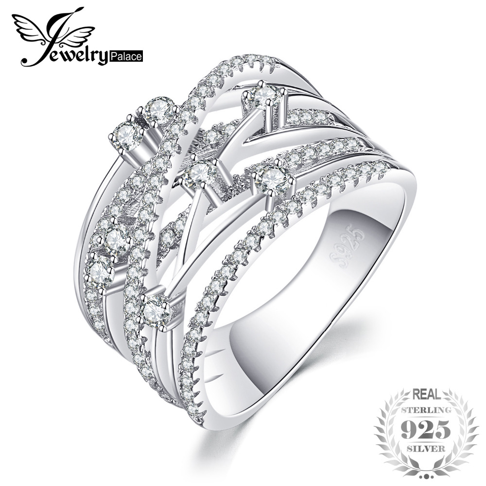 цена на JewelryPalace Luxurious Round Cubic Zirconia Wide Band Cocktail Ring For Women Genuine 925 Sterling Silver Wedding Jewelry Gift