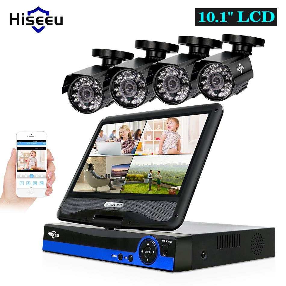 Hiseeu 4CH 1080P CCTV System kit 10inch LCD Display Bullet Outdoor waterproof video Surveillance AHD Security