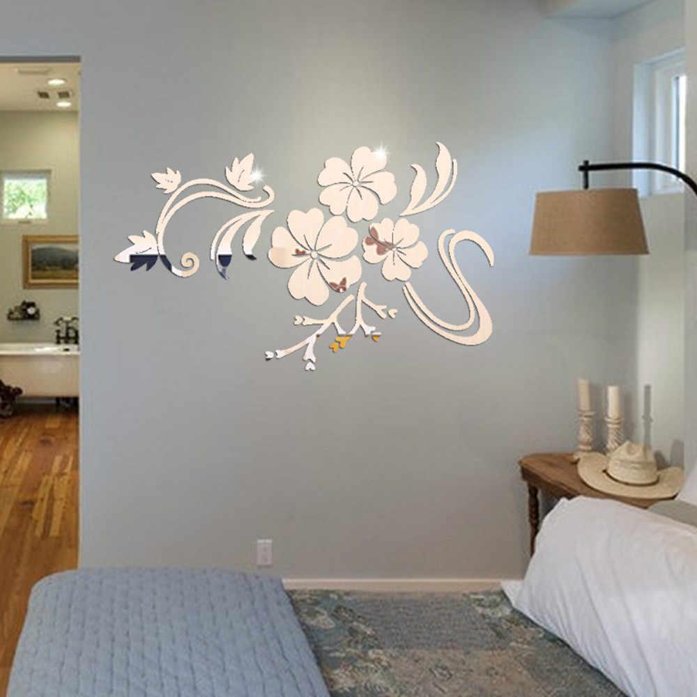 Sticker Mural autocollants dans le salon chambre 3 DMirror Floral Art amovible autocollant acrylique Mural décalcomanie livraison directe à la maison June28