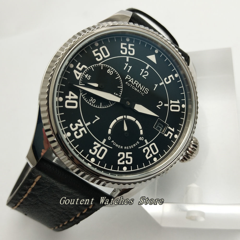 45mm Parnis Date Black Dial Power Reserve ST2530 Automatic Men s Watch