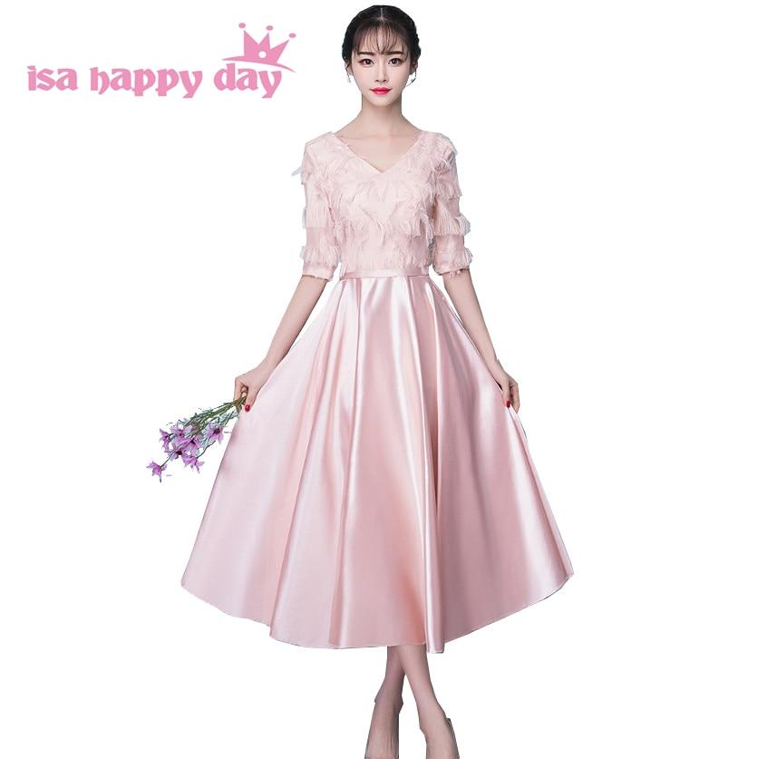 Cheap Elegant Lace Up Back Formal 2018 Womens Pastel Pink Satin V