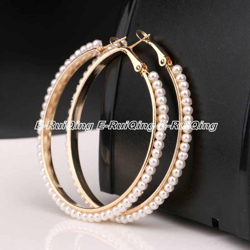 New Design Gold Silver Tone Women Full of Pearls Ear Hook Hoop Earrings  Circle Earrings Fashion 3aa3535d1f40