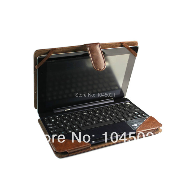 Russia hot sale Detachable Stand Cover for Asus Transformer Pad TF300T Brown Protective tablet Case+keyboard housing