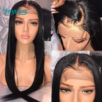 NYUWA 180% Density 360 Lace Frontal Wig Pre Plucked With Baby Hair Brazilian Remy Hair Straight Human Hair Wigs For Black Women