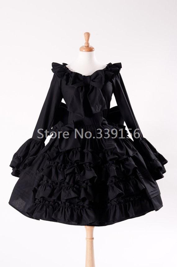 2017 Hot Sale Vintage Ruffled Bow Flare Sleeve Cute Black Gothic Lolita Dress Women Knee-Length Princess Lolita Costume