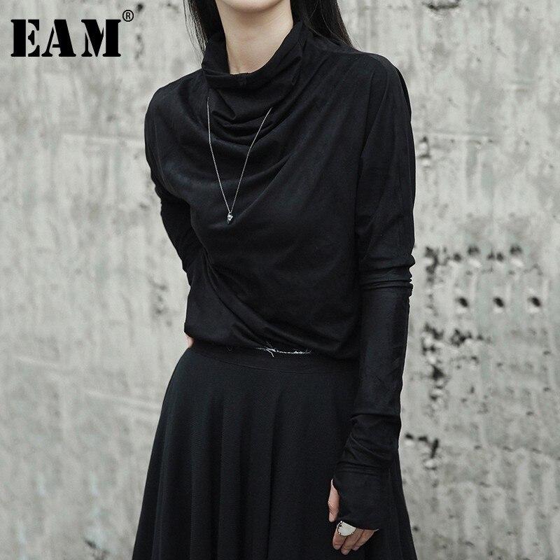 [EAM] 2019New Frühling Sommer Schwarz Unregelmäßigen Rollkragen Lange Handschuhe Ärmel Schlank Bodenbildung Shirt Frauen Mode Flut Wilde LA918