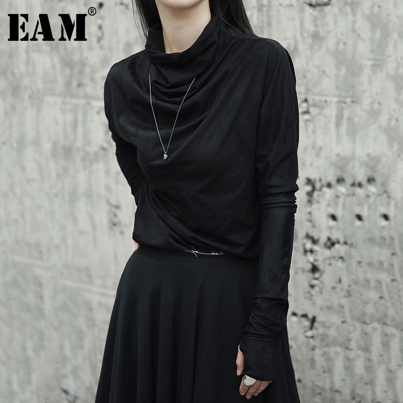 [EAM] 2019New Primavera Verano Irregular negro de cuello alto guantes mangas Slim que basa la camisa de las mujeres de marea de la moda salvaje LA918
