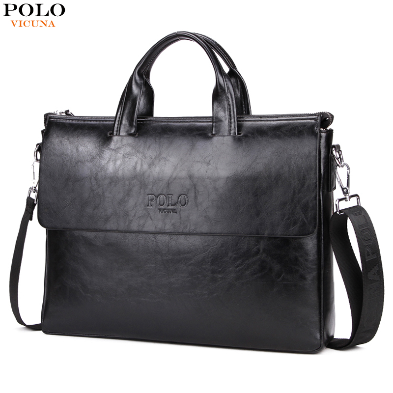 VICUNA POLO Fashion Newest Mens Business Laptop Bag Cover Design Men Leather Briefcase bolsas Large Capacity Man bolsa de couro