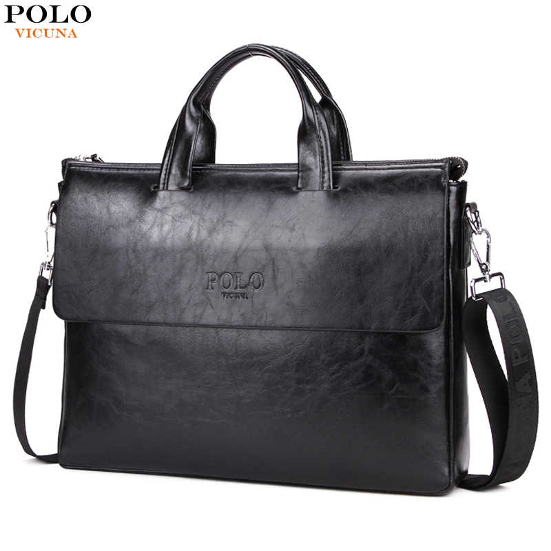 ccbe4129f7ee Викуньи поло модные новые Для мужчин s Бизнес сумка-чехол для ноутбука дизайн  мужской кожаный