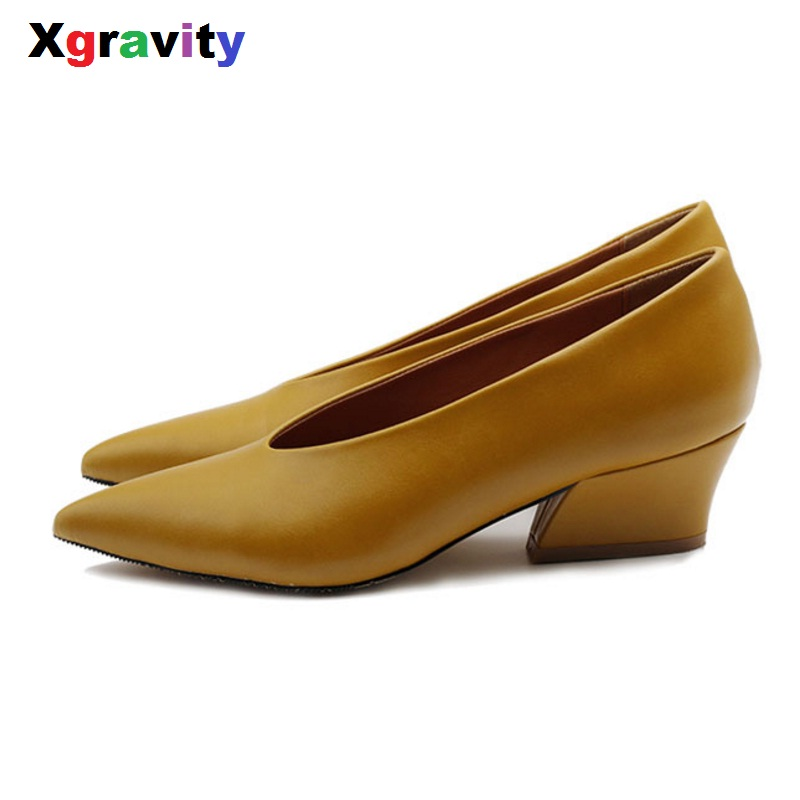 2018 New Autumn Chunky Wedge Shoes Elegant Mid Heeled Lady Fashion Pointed Toe Shoes Womens Genuine Leather OL Footwear C114