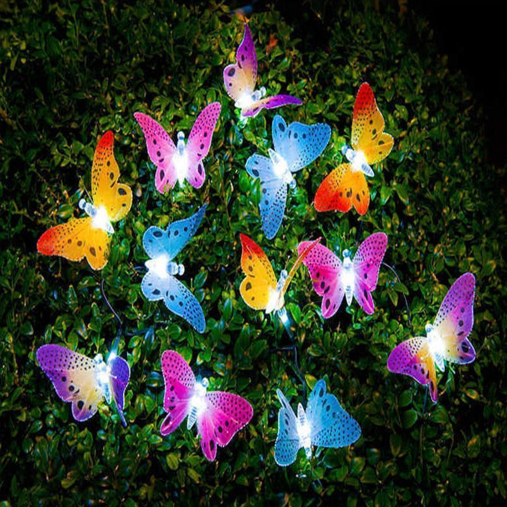 12 20 Led Solar Powered Butterfly Fiber Optic Fairy String Lights Waterproof Christmas Outdoor Garden Holiday Decoration Lights