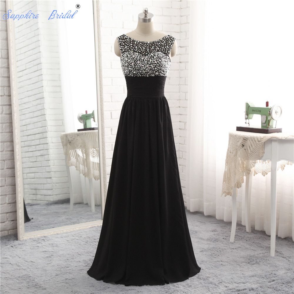 Sapphire Bridal 2018 Spring Collection Black   Evening   Gowns Top Beaded V Back Pleated Waist Long Formal   Evening     Dress