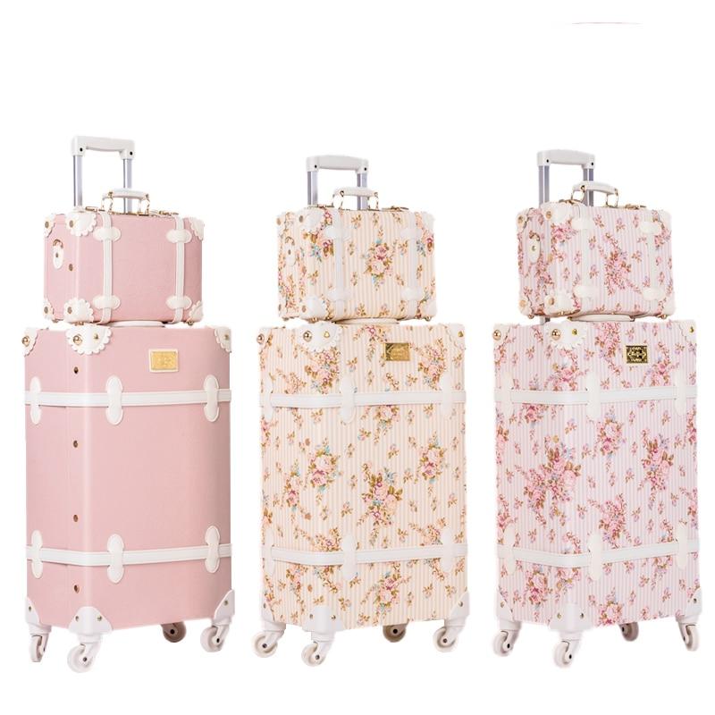 BeaSumore レトロピンク Pu レザーローリング荷物セットスピナースーツケースホイールヴィンテージキャビントロリー女性のハンドバッグ旅行バッグ  グループ上の スーツケース & バッグ からの 荷物セット の中 1