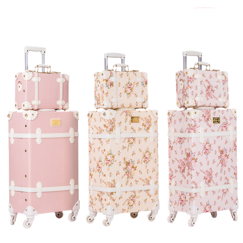 BeaSumore Retro Pink PU Leather Rolling Luggage Set Spinner Suitcase Wheel Vintage Cabin Trolley Women's Handbag Travel Bag