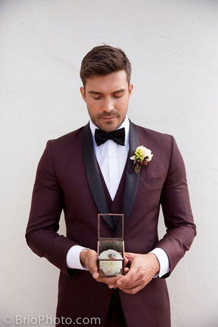 2018 Tailored Burgundy Men Suit Groom Wedding Suits For Slim Fit 3 Piece Tuxedo Custom