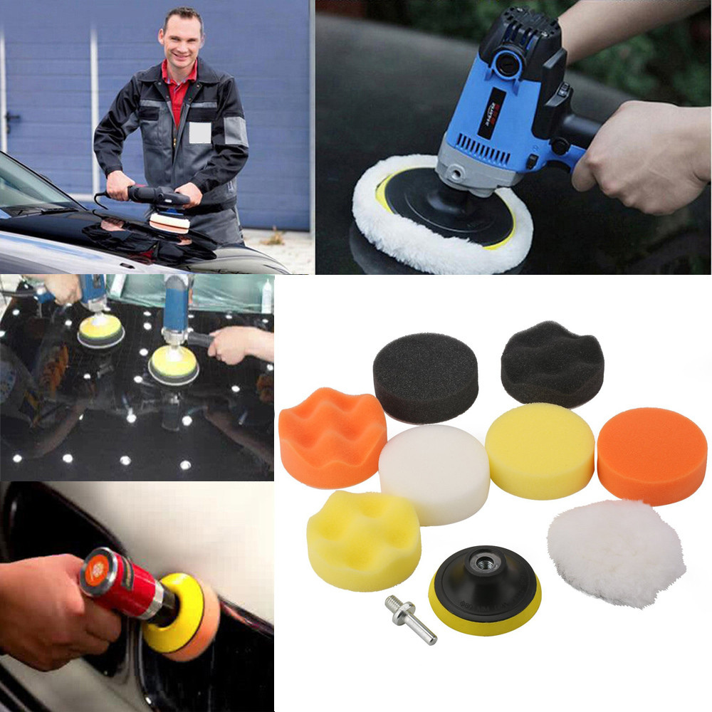 Hot Selling A Set Sponges Waves Plate Compound Car Polishing Waxing Pads Clean Paint Tools Drill Adapter soft elastic woolen