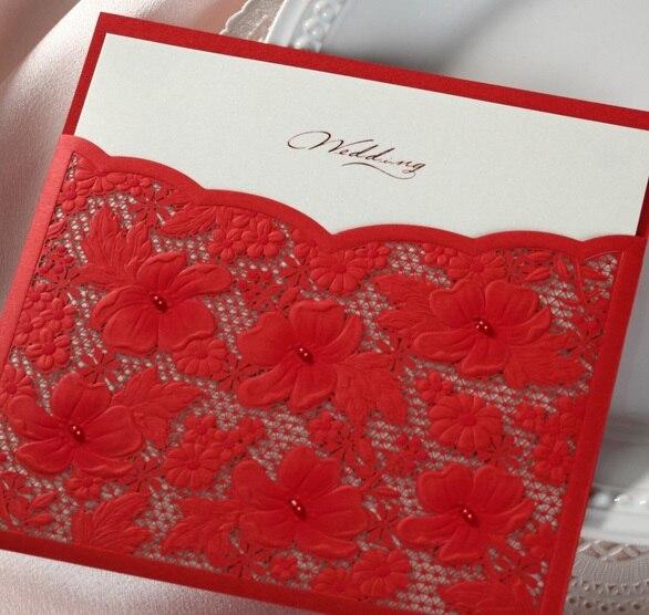 nuevo unids wishmade cw caliente hecho a mano rojo hueco hoja de toma de flor de la boda tarjeta de invitacin con u