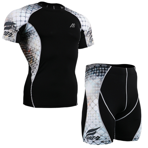 Running Compression Base Layer sets mens tracksuits sport wears training clothes for men s short sleeve