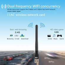 600Mbps 11AC USB 2.0 2.4G/5.8G Dual Band Wireless WiFi Adapter Receiver Wireless-N Network Card 802.11ac/a/b/g/n for PC laotop
