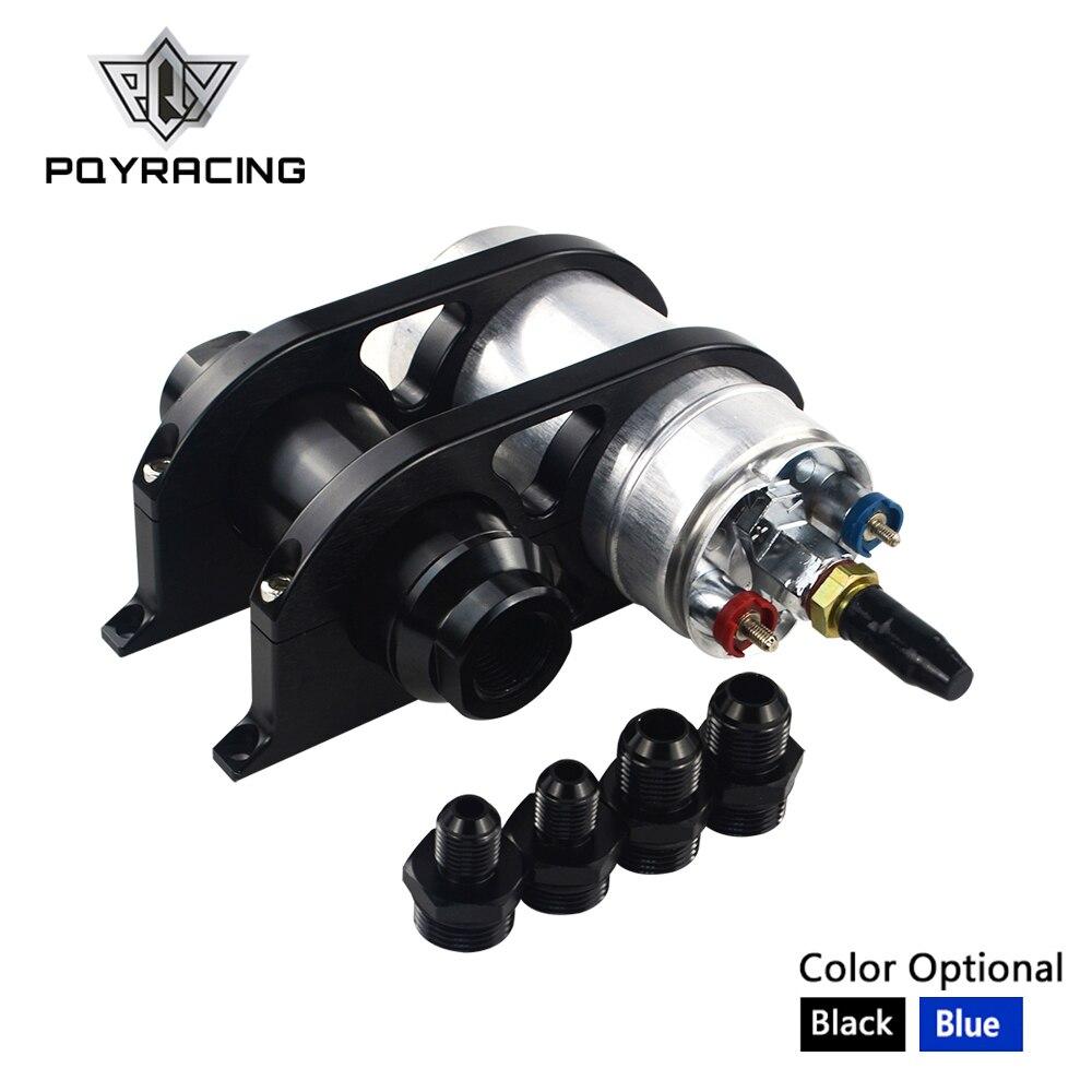 PQY - 44mm&60mm Dual Double Billet Fuel Pump Filter Mounting Bracket Clamp Kit + 044 Fuel pump + Fuel filter diesel lift fuel pump filter for 4132a016 electric fuel filter pump
