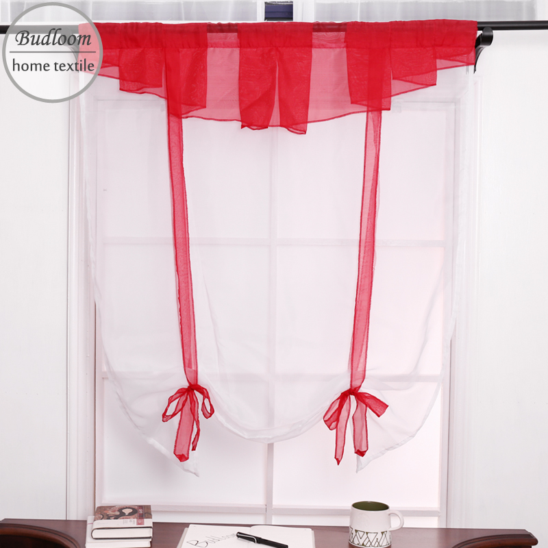 Red And Gray Kitchen Curtains: Aliexpress.com : Buy Budloom Red Gray Valance Short Tulle Pleated Curtains For Kitchen Balcony