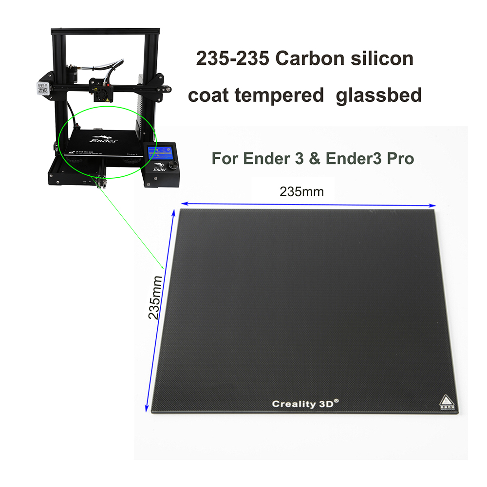 235 235mm New Creality Ultrabase 3D Printer Platform Heated Bed Build Surface carbon silicon Glass plate