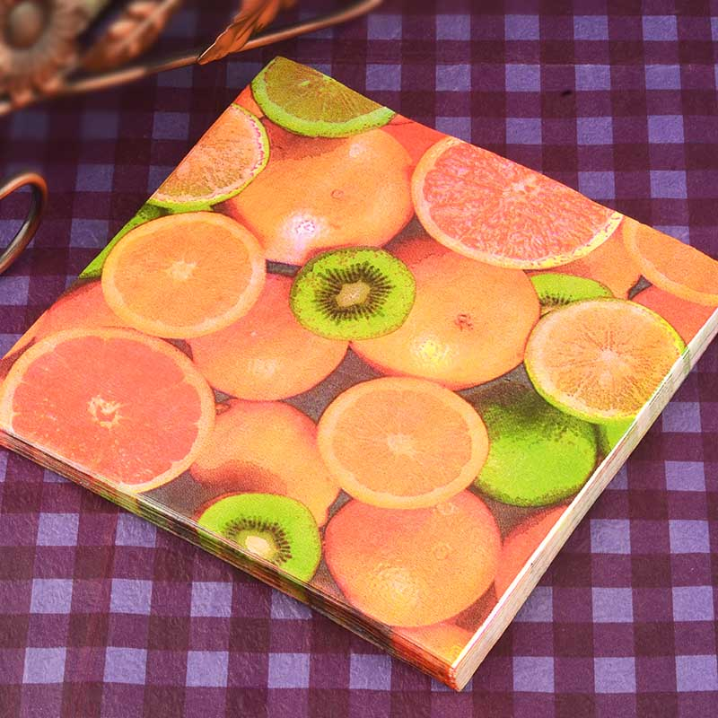 Food-grade Fruit Color Printing Paper Napkin Decoupage Art for Wedding & Halloween Party Decoration