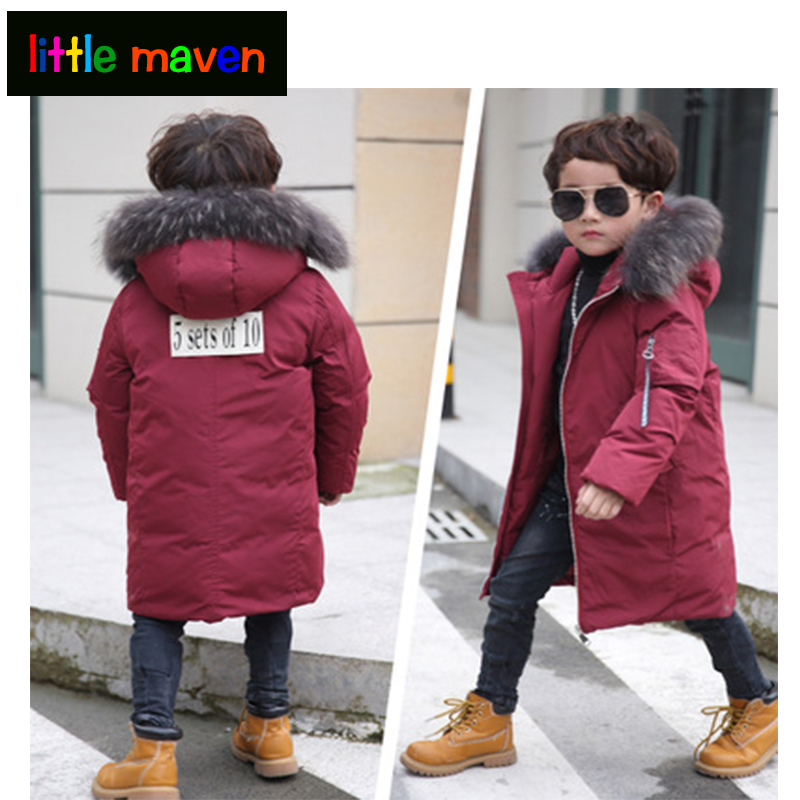 Winter Boy Children's Down jacket oversize down coat thicken overcoat outerwear hooded parkas  6-14 yrs kids clothes 2017 teens girl boys winter outwear coat hooded jacket children duck down jacket boy clothes kids patchwork down parkas 3 12 yrs
