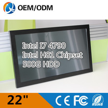Industrial panel pc 22 inch Resistive touch screen all in one pc / Intel I7 4790 / Resistive touch /1680X1050 2GB DDR3 500G HDD