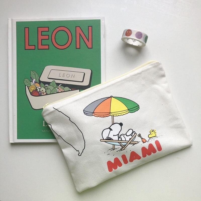 Ins Best Selling Style Cartoon Rogue Dog Pencil Case Large Capacity Canvas Bag Cute Student Kawaii Pencil Bag Makeup Storage Bag