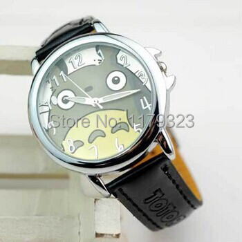 Totoro Pattern Cartoon Watch Women Leather Strap Analog Quartz Fashion Trendy Ladies Wristwatch Relojes Black - E-Romantic store