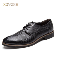 XGVOKH Handmade Men S Shoes Dress Shoes Men Flats Shoes Crocodile Pattern Fashion Man Leather Oxfords