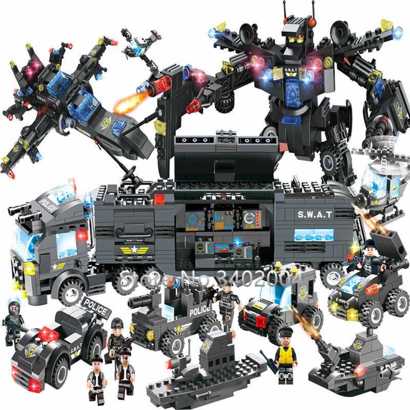 8IN1 городская полиция SWAT робокоп войны генералов робот автомобиль строительные Конструкторы наборы для ухода за кожей Совместимость LegoINGs кирпичи Playmobil