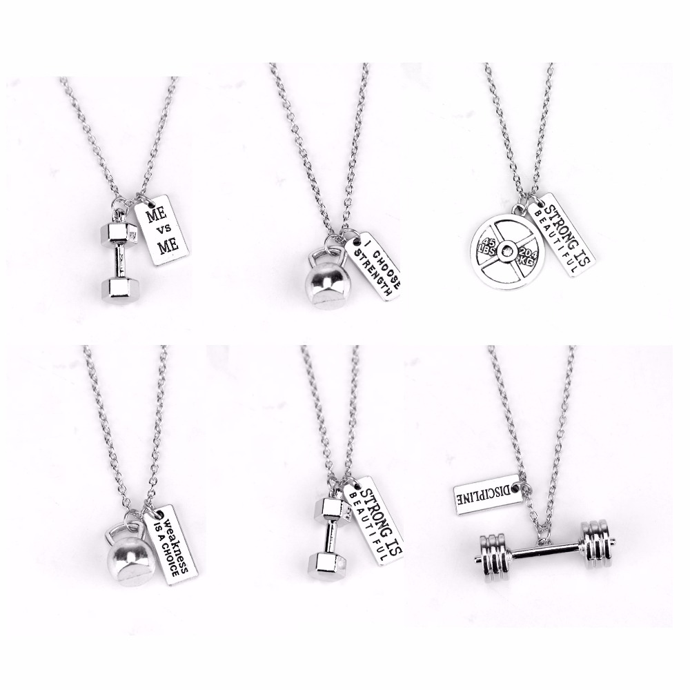Mens Fitness Strength Weight Plate Dumbbell Kettle bell Strong is Beautiful Necklace Fashion Weightlifting Sports Jewelry Gift