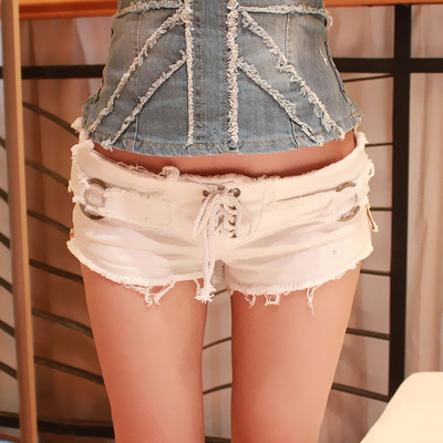 3 change flowers worn cowboy shorts female Cotton High WaisteWaisted Fashion Button Pockets Skinny Women M47515 180718 PXH