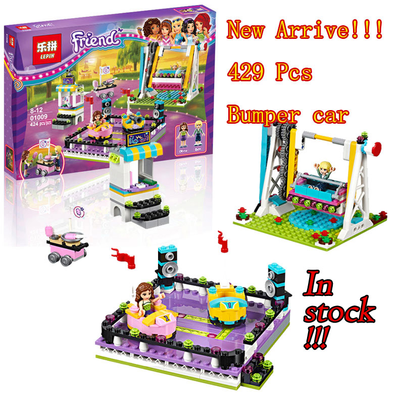 Lepin 01009 Friends Bumper Cars Amusement Park Minifigures Building Block 100% Compatible with 41133 Toy Christmas Gifts