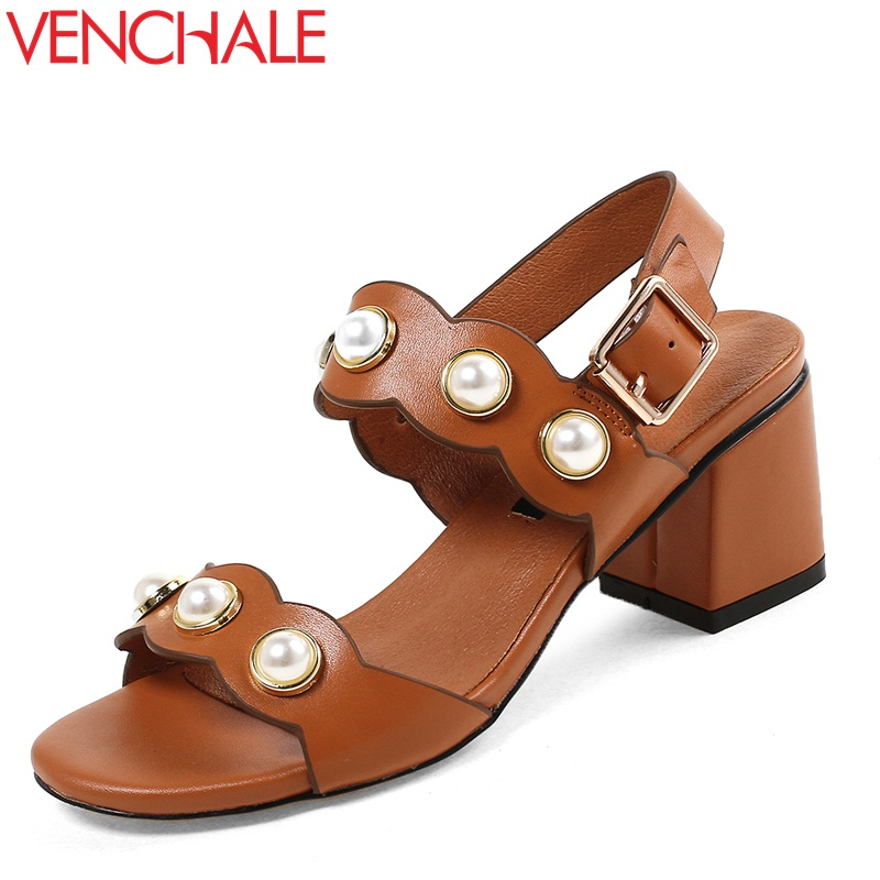 VENCHALE 2018 new fashion high square heel front and rear strap pearl rivet cow leather height heel 7 cm summer women sandals venchale 2018 summer new fashion sandals wedges platform women shoes height heel 10 cm buckle strap casual cow leather sandals